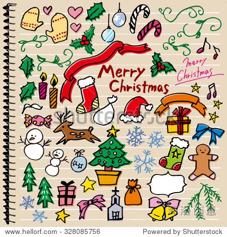 圣诞节手绘插图