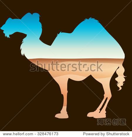 拯救野生动物主题与骆驼和沙漠插图