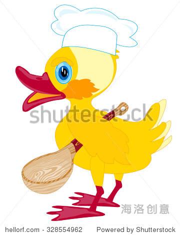 卡通小鸭子用勺子在白色背景上