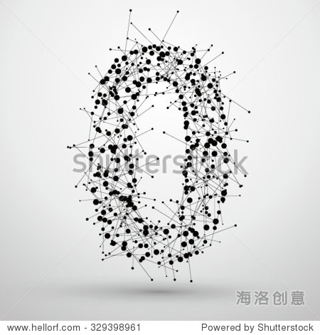 数字0,点和线组成的,有一种感觉字体设计的网络技术.