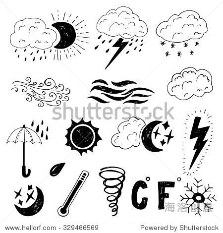 的手绘涂鸦天气图标.简单的向量孤立的天气图片覆盖.