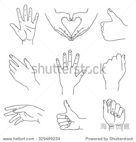 的手.矢量图标,手绘.