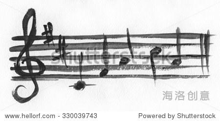 避免与高音谱号.小提琴谱号.水彩画的艺术.谱号,避免水彩画纸和笔记.