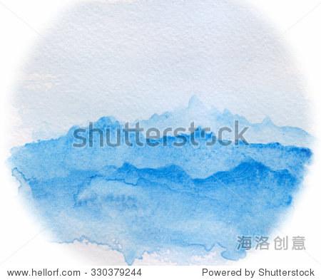 简单的水彩画抽象的景观——天空和山脉