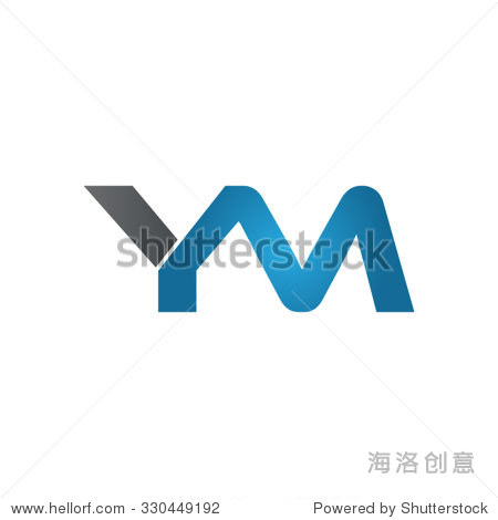 ym company linked letter logo blue