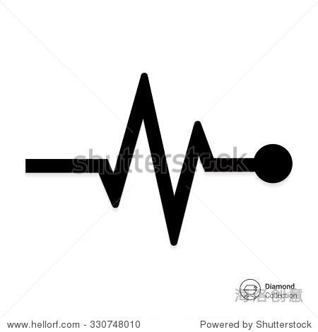 矢量图标指示心律心电图图形