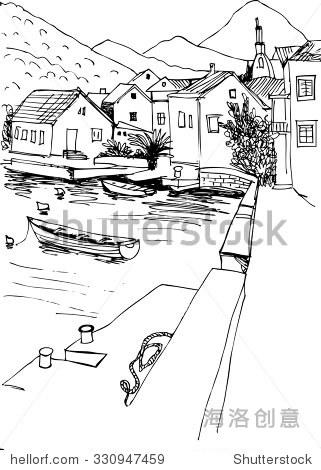 黑白风景海码头和船只