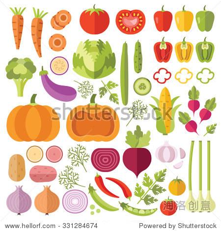 蔬菜平图标集.彩色平面设计理念为web横幅,网站,印刷材料,信息图.