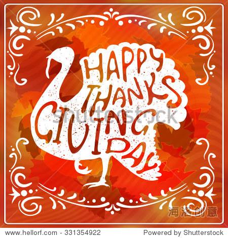 写的复古的画和书法设计插图火鸡在感恩节标志模板 感恩节卡片模板