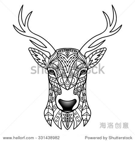 幻想的鹿.矢量插图纺织图案,纹身,标志,网络和图形设计