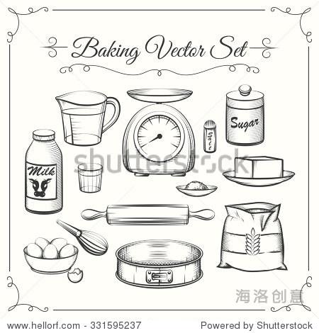 烘焙食品配料和厨房工具矢量手绘风格.