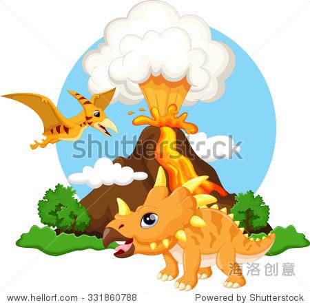 可爱的三角恐龙和翼龙卡通火山背景