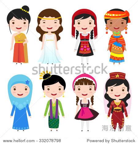 Traditional costumes clothing of the world cartoon girls for Columbia craft show 2017