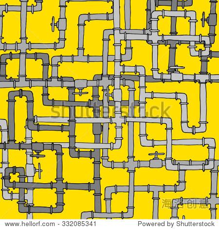 卡通插图纠缠复杂的水管道结构