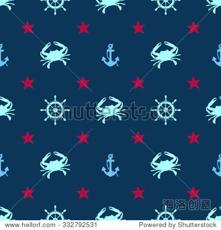 无缝的海洋模式海洋生物——矢量插图.螃蟹,海星,锚和