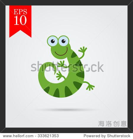 矢量图标的可爱的微笑的卡通蜥蜴