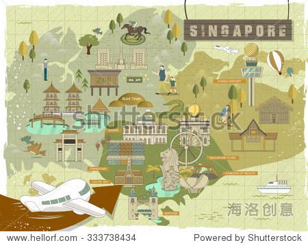 可爱的新加坡必看景点旅游地图平面设计
