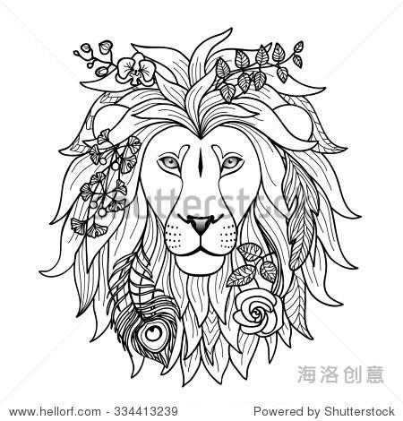 狮子.插图纺织图案,纹身,星座网络和图形设计 - 动物
