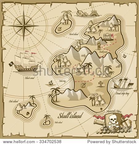 金银岛矢量地图在手绘风格.海上冒险,海洋导航,计划和