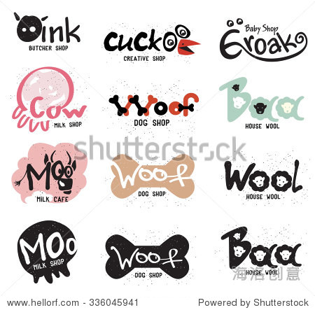 为商店复古创造性的标志和标签的形式有趣的动物.设计