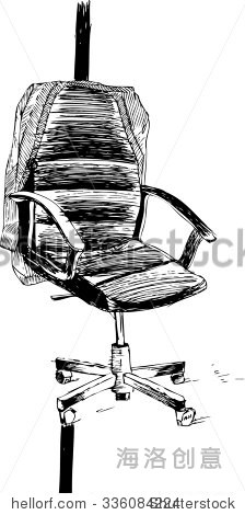 黑白手绘矢量插图与没人办公椅.素描风格黑色墨水插图