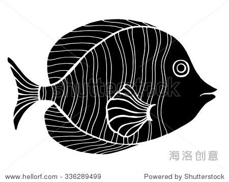单色程式化的鱼.手绘涂鸦矢量插图孤立在白色背景.