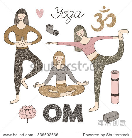 矢量手绘与可爱的女孩做瑜伽