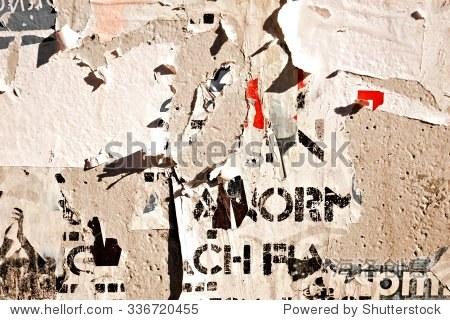 旧海报/撕海报撕纸-背景/素材,抽象-海洛创意正版图片