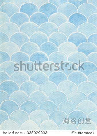 水彩手绘背景与波浪条纹.