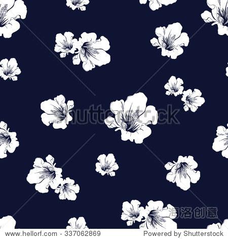 抽象无缝模式与手绘孤立白花轮廓在深蓝色的背景上.矢量插图.