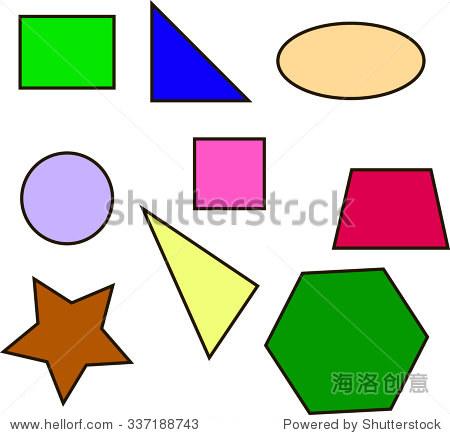 彩色几何形状正方形圆三角形梯形椭圆形向量 - 物体