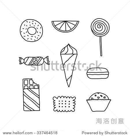 手绘图标的饼干,巧克力,蛋糕和糖果.涂鸦象形图贴画吗