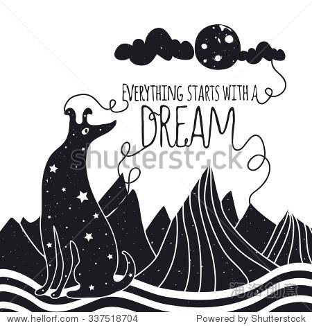 可爱浪漫的插图与狗看着月亮.复古灵感海报字体设计与