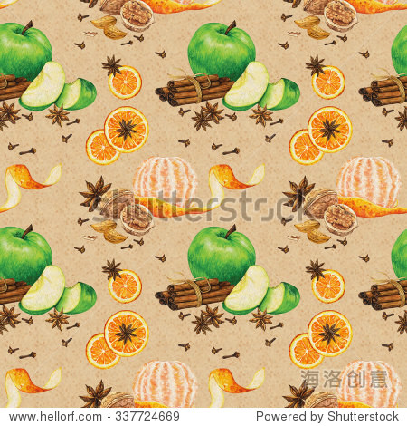 模式与手绘水彩切苹果和橘子,剥去皮的普通话,香料,坚果复古米色背景.