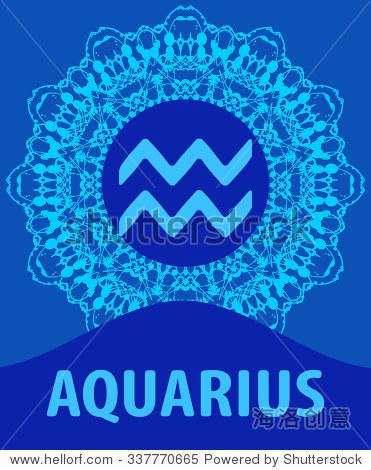 aquarius_aquarius. the water bearer. zodiac icon with mandala print.