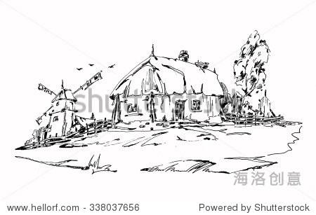 老房子和风车.平面设计中性笔.成人着色书籍