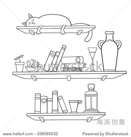 书,书架上猫和其他东西.矢量插图.图形对象为装饰,,或