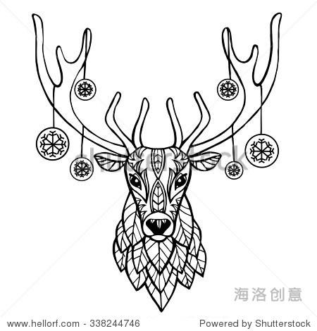 民族动物矢量图.民族鹿/非洲/印度/图腾.圣诞新年背景.
