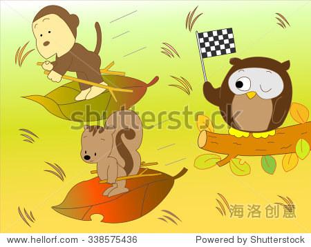 滑草的秋天的动物
