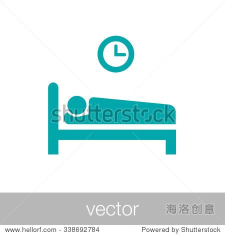 睡眠图标.平面风格概念设计说明图标.