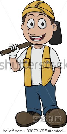 现场施工工人的卡通设计 - 人物 - 站酷海洛创意正版