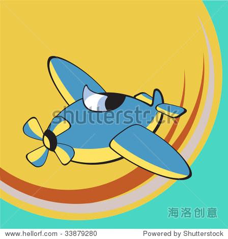 交通矢量插图漫画.小的飞机