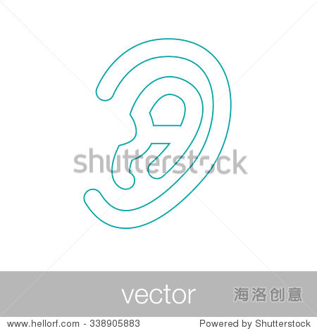 耳朵图标.平面风格概念设计说明图标.