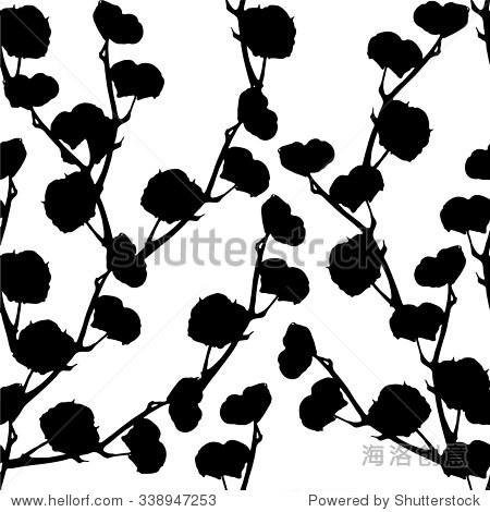 向量黑白手绘图案背景轮廓的花朵-背景/素材-海洛创意