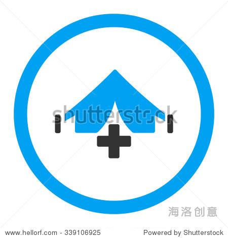 提出医院矢量图标.风格是二色的平圆形的象征,蓝色和