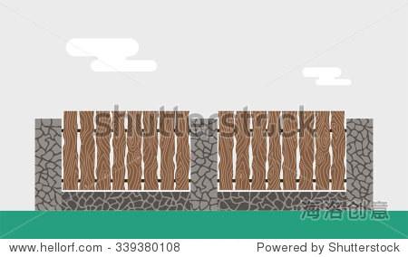 木头和石头围墙隔离背景.栅栏矢量插图.围墙栏杆向量孤立.