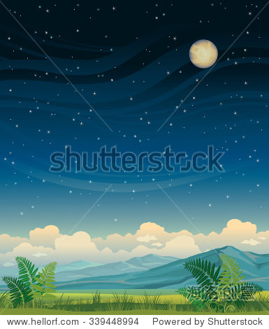 summer night landscape - green meadow and blue mountains on a