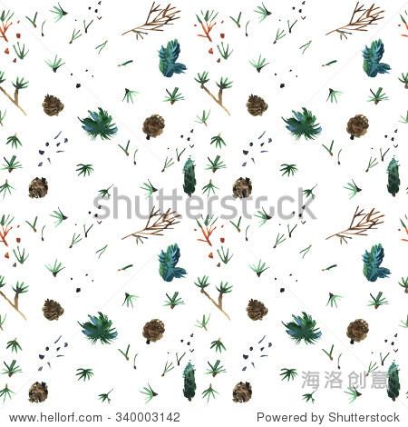 松树的纹理.水彩花卉插图.用鲜花优雅无缝模式.