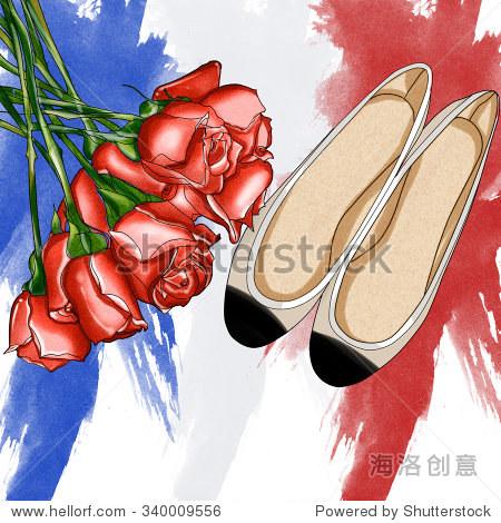 手绘时装插图——玫瑰花束和一双芭蕾舞鞋