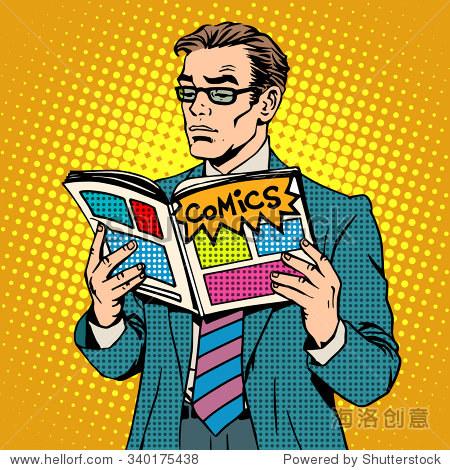 人读漫画书成人艺术的复古眼镜。漫画戴波普商肯风格修v成人版无图片